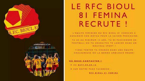 Mesdemoiselles, mesdames le RFC Bioul 81 vous attend.