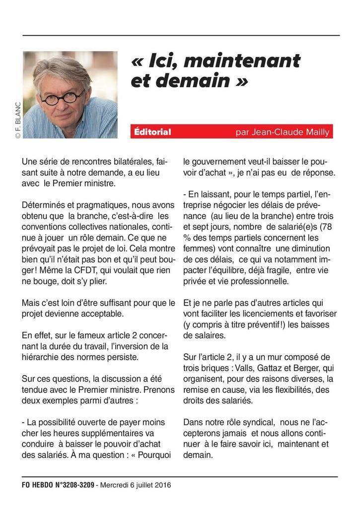EDITO DE JEAN CLAUDE MAILLY SUR LA LOI TRAVAIL