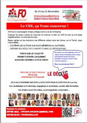 CSE SUPPLY CHAIN CCEP FRANCE  ça vous concerne !
