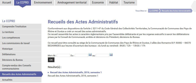 Extrait du site internet CCPRO, enfin des actes administratifs à jour, mais disparition des archives