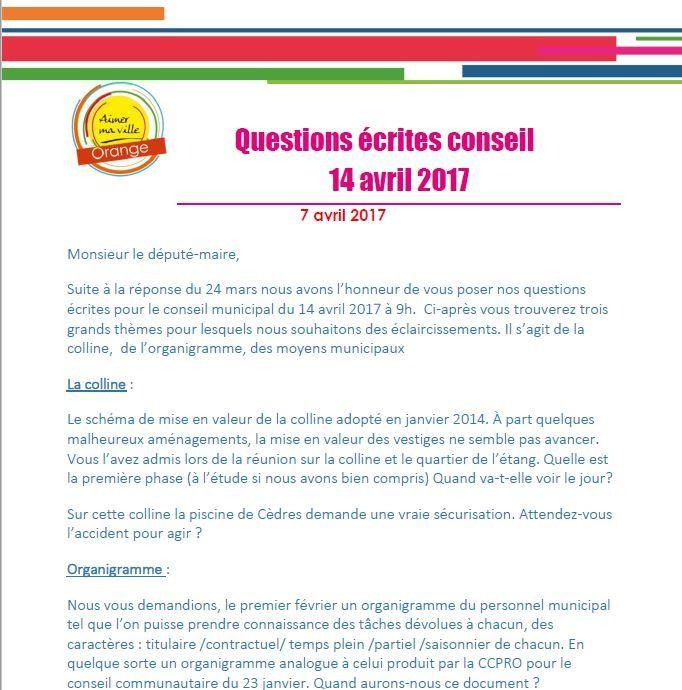 Des questions écrites pour le conseil du 14 avril 2017