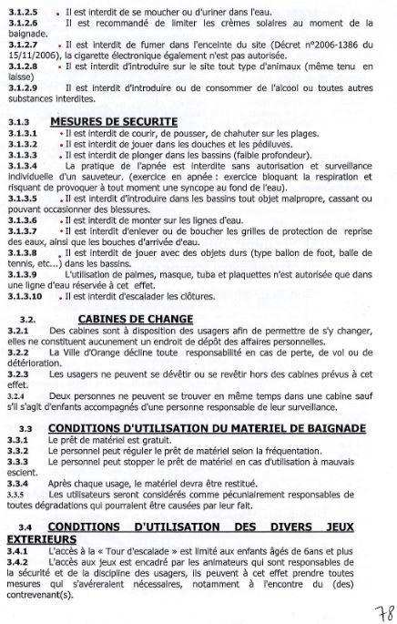 Réglement d'Orange Plage: juillet août 2017