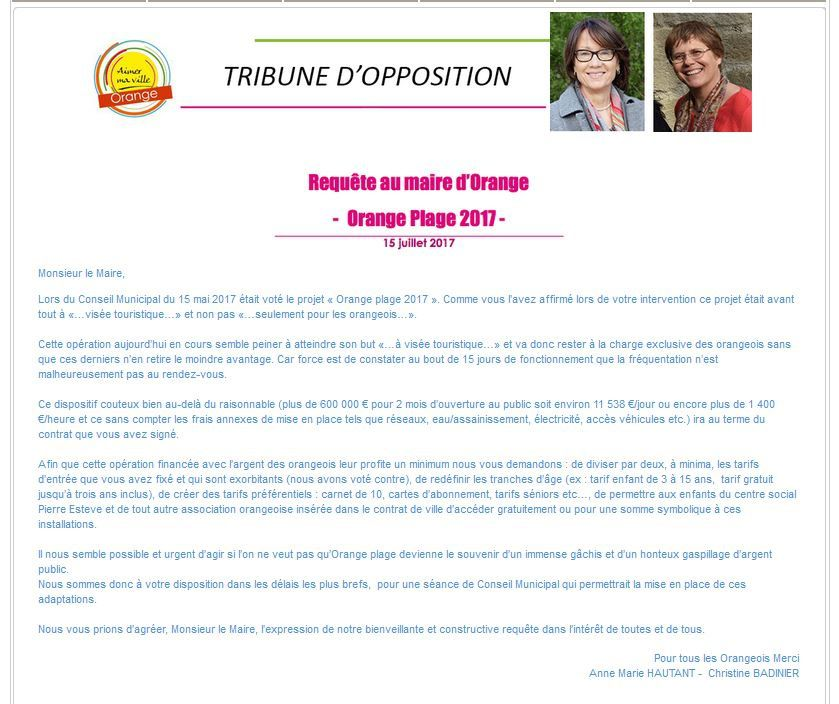 Tribune libre sur le site municipal: Juillet 2017 sujet Orange plage.