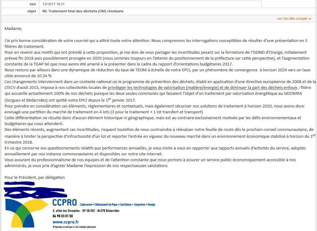 Ordure ménagères: la réponse de la CCPRO.