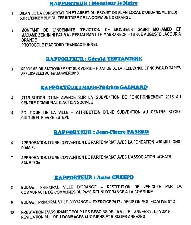 Ordre du Jour du conseil municipal du 27 oct 2017