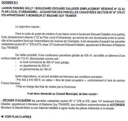 doc donné aux élus pour préparer le conseil municipal du 20 fév 2015