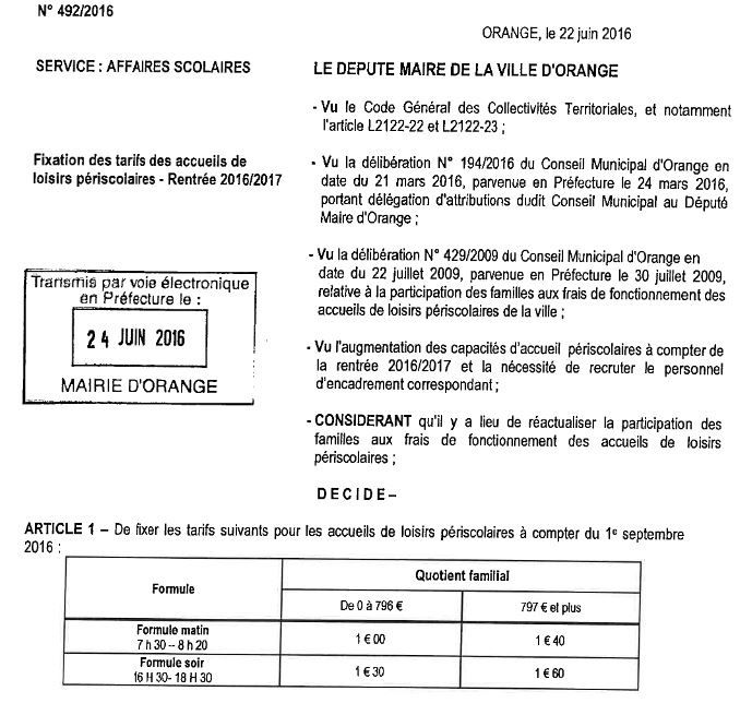 Revalorisation des tarifs d'accueil périscolaire par décision du maire...bien sûr.