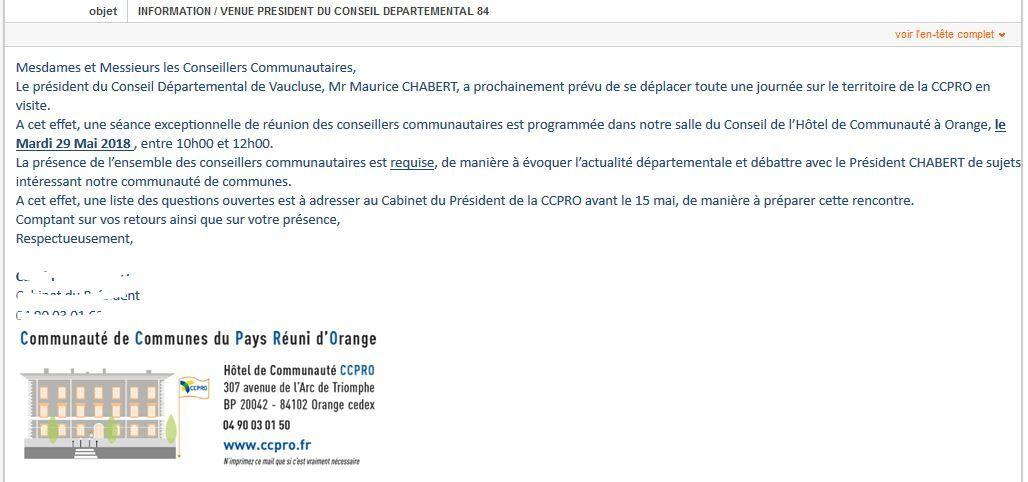 Invitation? Le président du département Maurice Chabert nous rend visite!