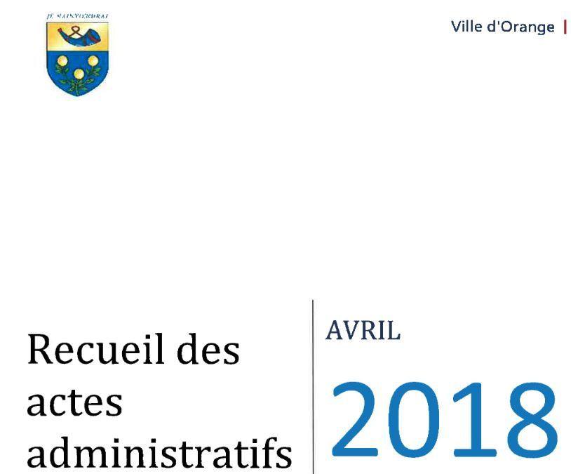 Actes administratifs d'avril 2018 publiés