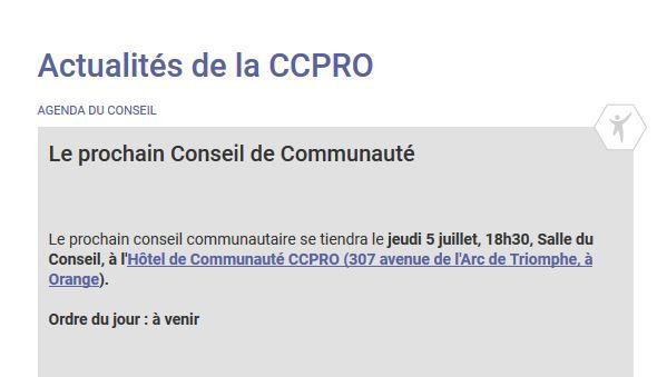 Constat sur le site CCPRO : Pour le moment l'horraire du prochain conseil est 18h30