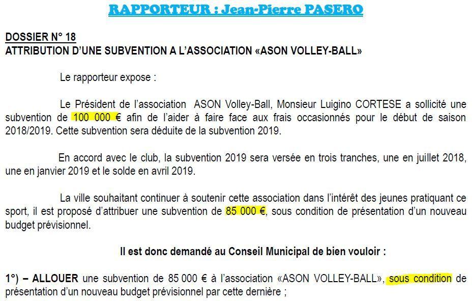 85 000€  pour l'ASON, 10 000€ pour la toute nouvelle association de foot-ball l'OFC