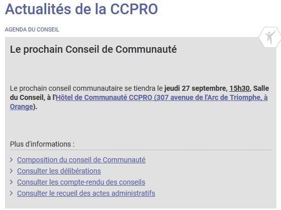 Date du prochain conseil communautaire: 27 septembre, et toujours à 15h30!