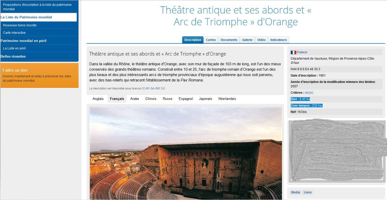 37ème anniversaire du classement du Théâtre, ses abords et de l'Arc de Triomphe.