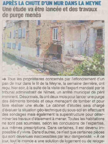 Effondrements dans la Meyne: Après les experts, un arrêté du Maire.