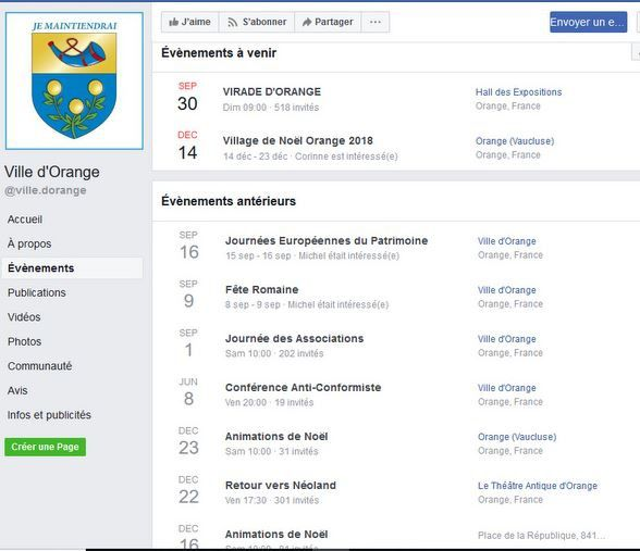 Evénements à Orange: sur le site officiel facebook de la ville.