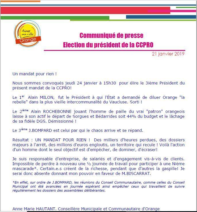 Communiqué de presse: Election président CCPRO le 24 janvier 2019.