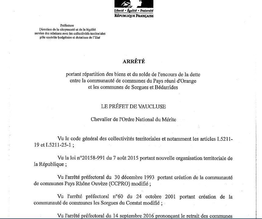 Répartition des biens/dettes: Faute d'accord le préfet obligé de trancher