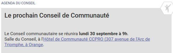 Date du prochain conseil communautaire 30 septembre
