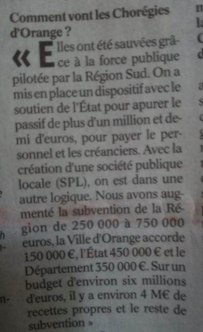 Lettre ouverte au maire: Question du million de Francs de subventions aux Chorégies.