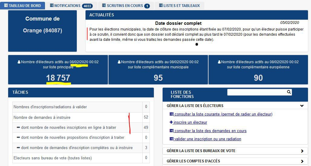 Où on en est, question liste électorale.