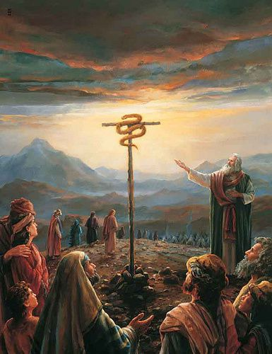 Nombres 21:8 L'Éternel dit à Moïse: Fais-toi un serpent brûlant, et place-le sur une perche; quiconque aura été mordu, et le regardera, conservera la vie.