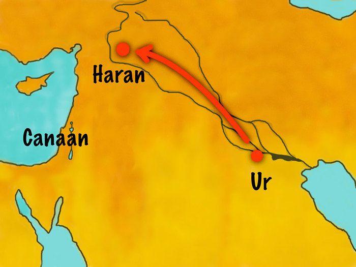 Dieu promet à Abraham, il sera le père d'une grande nation. Dieu promet à Abraham le territoire de Canaan (actuellement pour le situé, c'est uun territoire proche de l'Iran et de l'Irak)