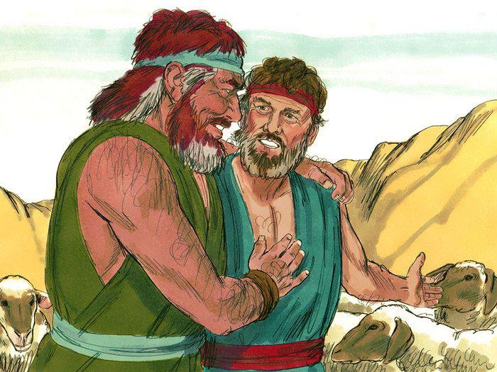 Jacob retrouve son frère après avoir lutté avec un ange