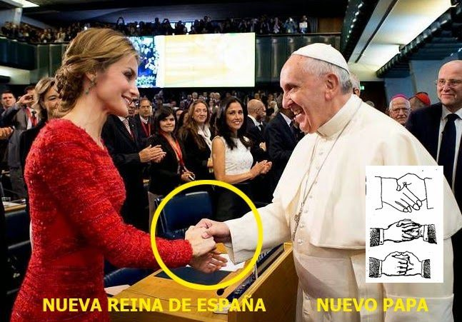 Où trouver les symboles : Le pape et la reine d'Espagne, salut maçonnique