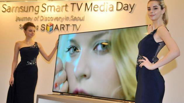 LeFigaro.fr/Ronfaut, Lucie - Une télévision connectée de Samsung, présentée en 2013. / JUNG YEON-JE/AFP