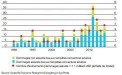 Les dommages liés aux tempêtes orageuses sévères en augmentation depuis 25 ans dans le monde