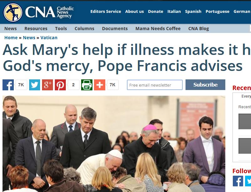 Le pape François : « Si la maladie affecte votre confiance dans la miséricorde de Dieu, demandez l'aide à Marie »