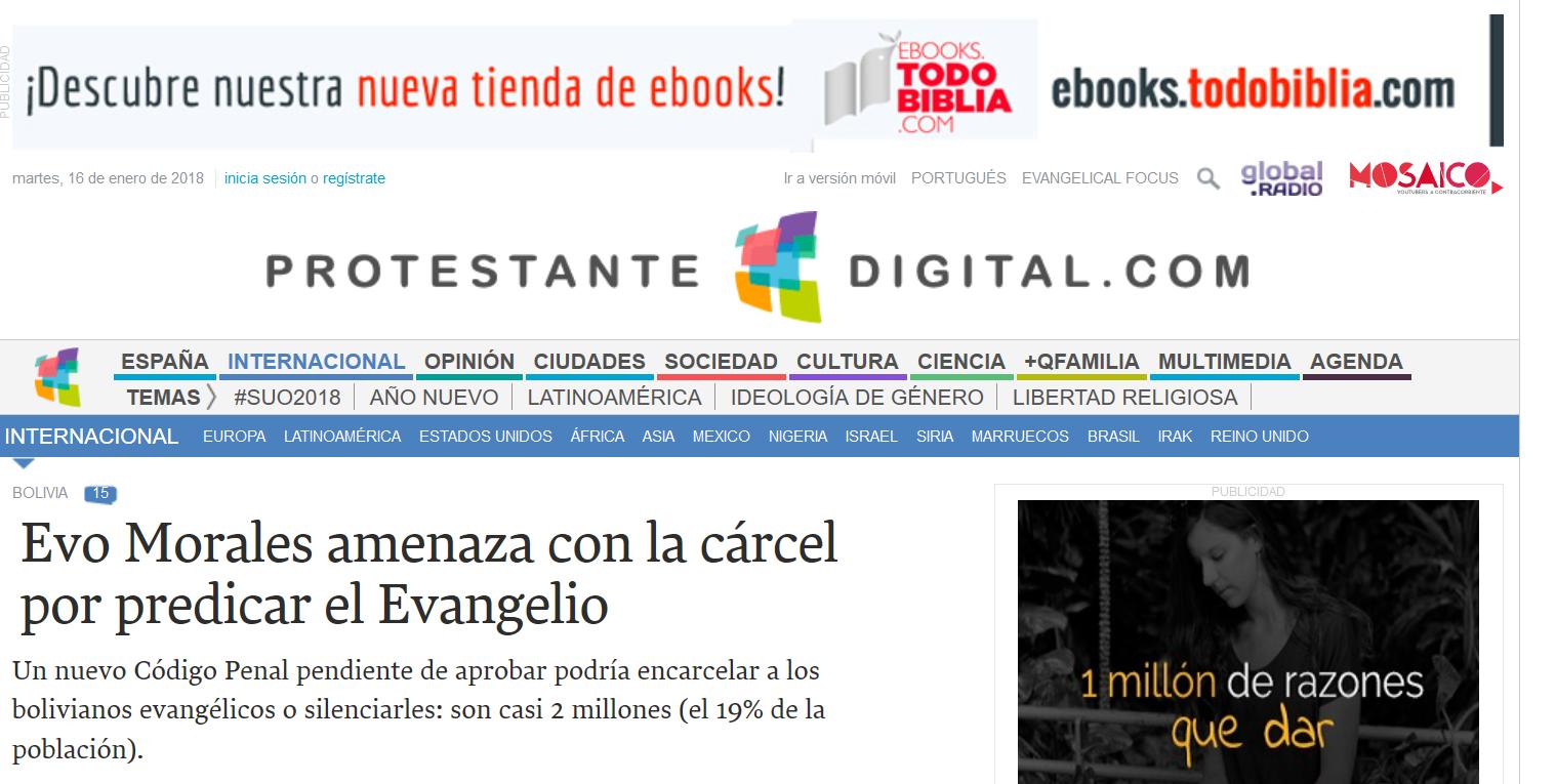 Signes des temps : Interdiction et prison pour ceux qui diffusent l'Évangile et convertissent les âmes à Christ en Bolivie !