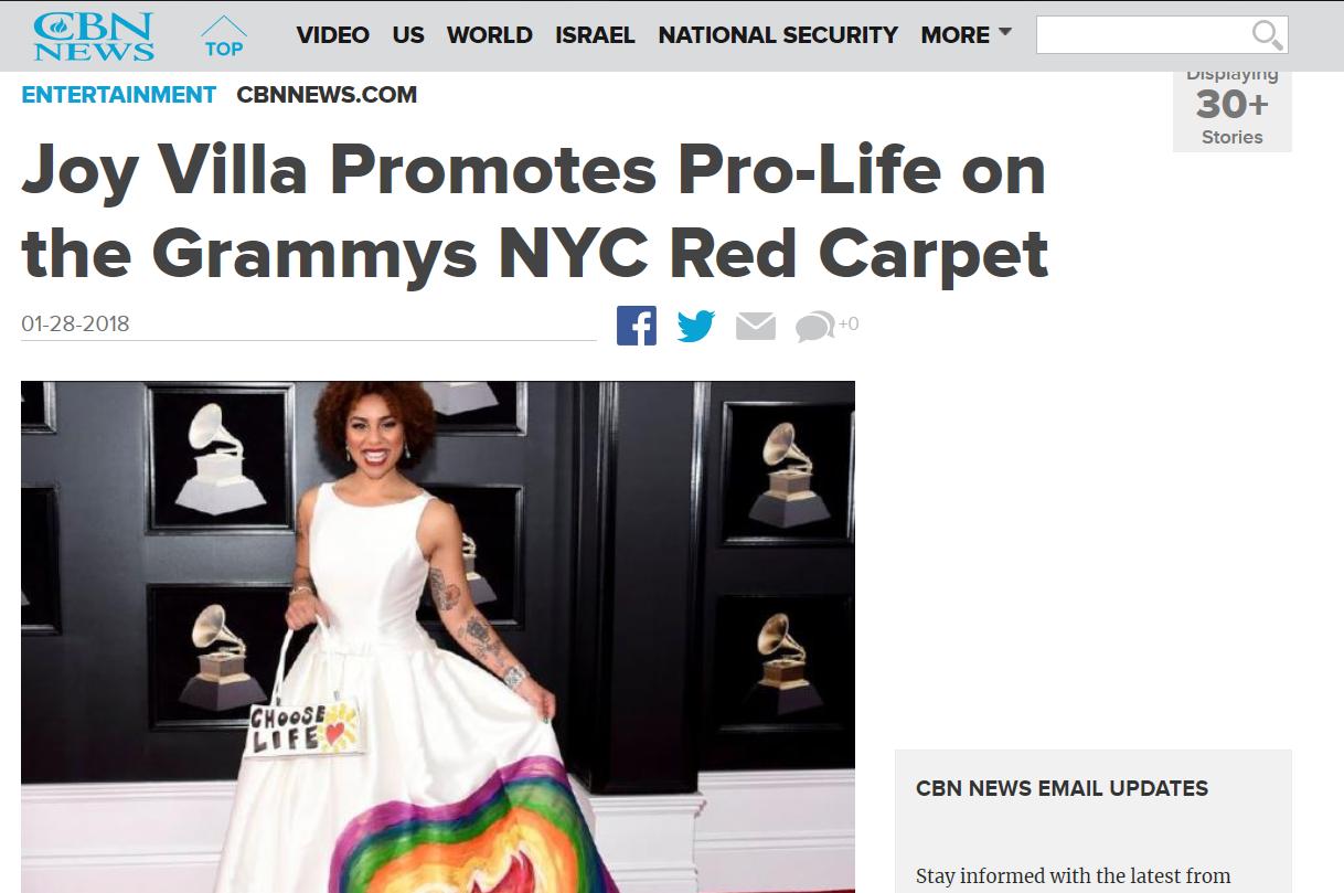"""La chanteuse fait campagne contre l'avortement aux Grammy : """"Choisissez la vie"""""""