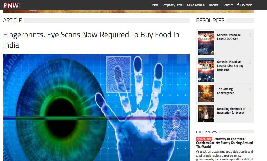 Empreintes digitales et scanner oculaire, sont à présent nécessaires pour acheter de la nourriture en Inde !