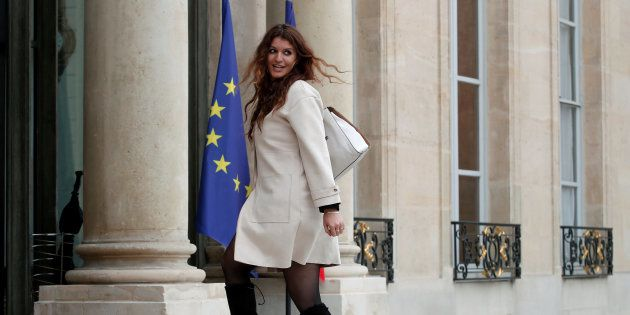 Newly appointed French Junior Minister in charge of Equality between men and women, Marlene Schiappa, arrives to attend the first cabinet meeting at the Elysee Palace in Paris, France, May 18, 2017. REUTERS/Benoit Tessier