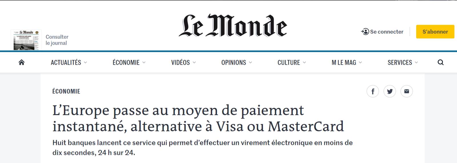 L'Europe passe au moyen de paiement instantané, alternative à Visa ou MasterCard