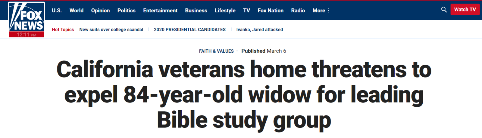 L'État veut expulser une dame de 84 ans parce qu'elle dispense des études bibliques au sein de sa maison de retraite !