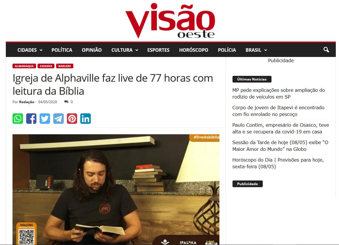 https://www.visaooeste.com.br/igreja-de-alphaville-faz-live-de-77-horas-com-leitura-da-biblia/