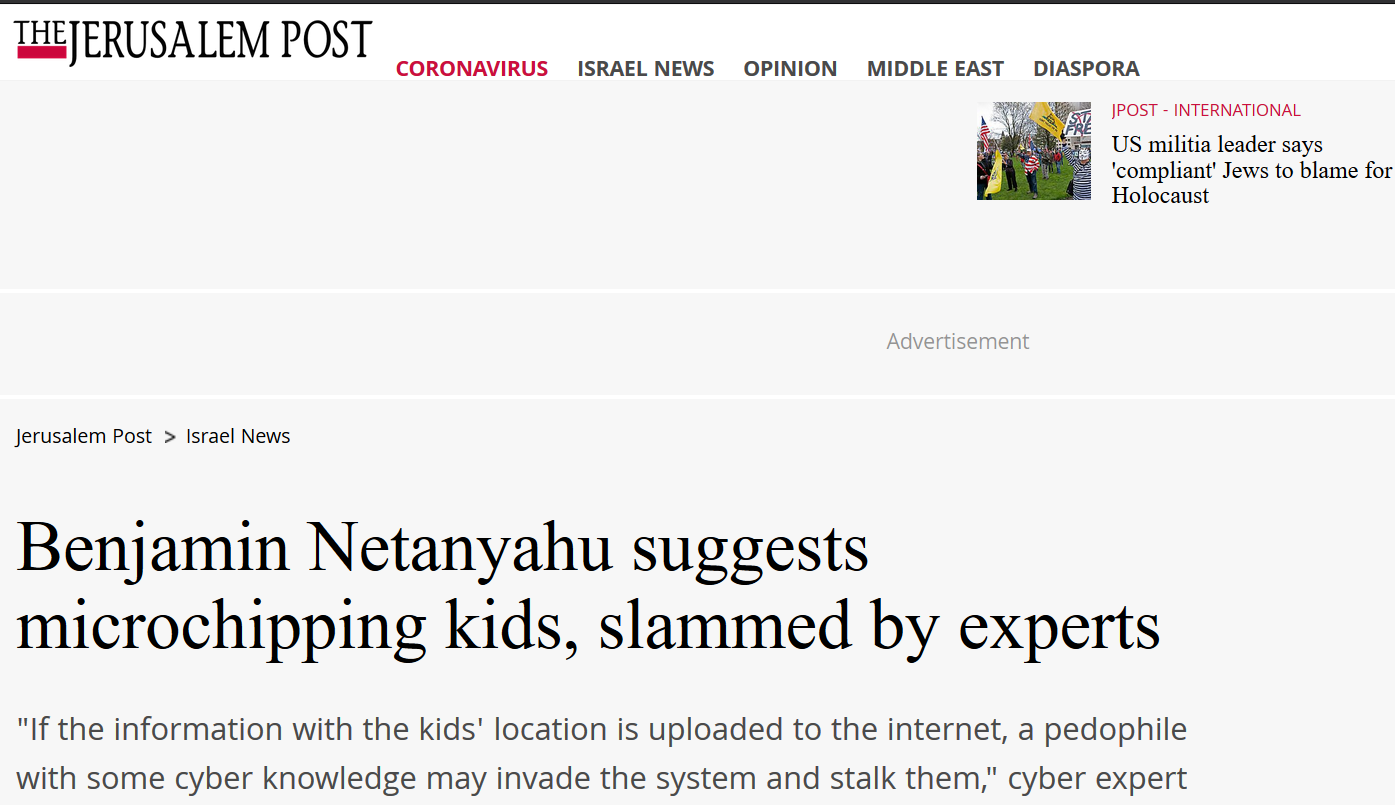 https://www.jpost.com/israel-news/benjamin-netanyahu-suggests-to-microchip-kids-slammed-by-experts-627381