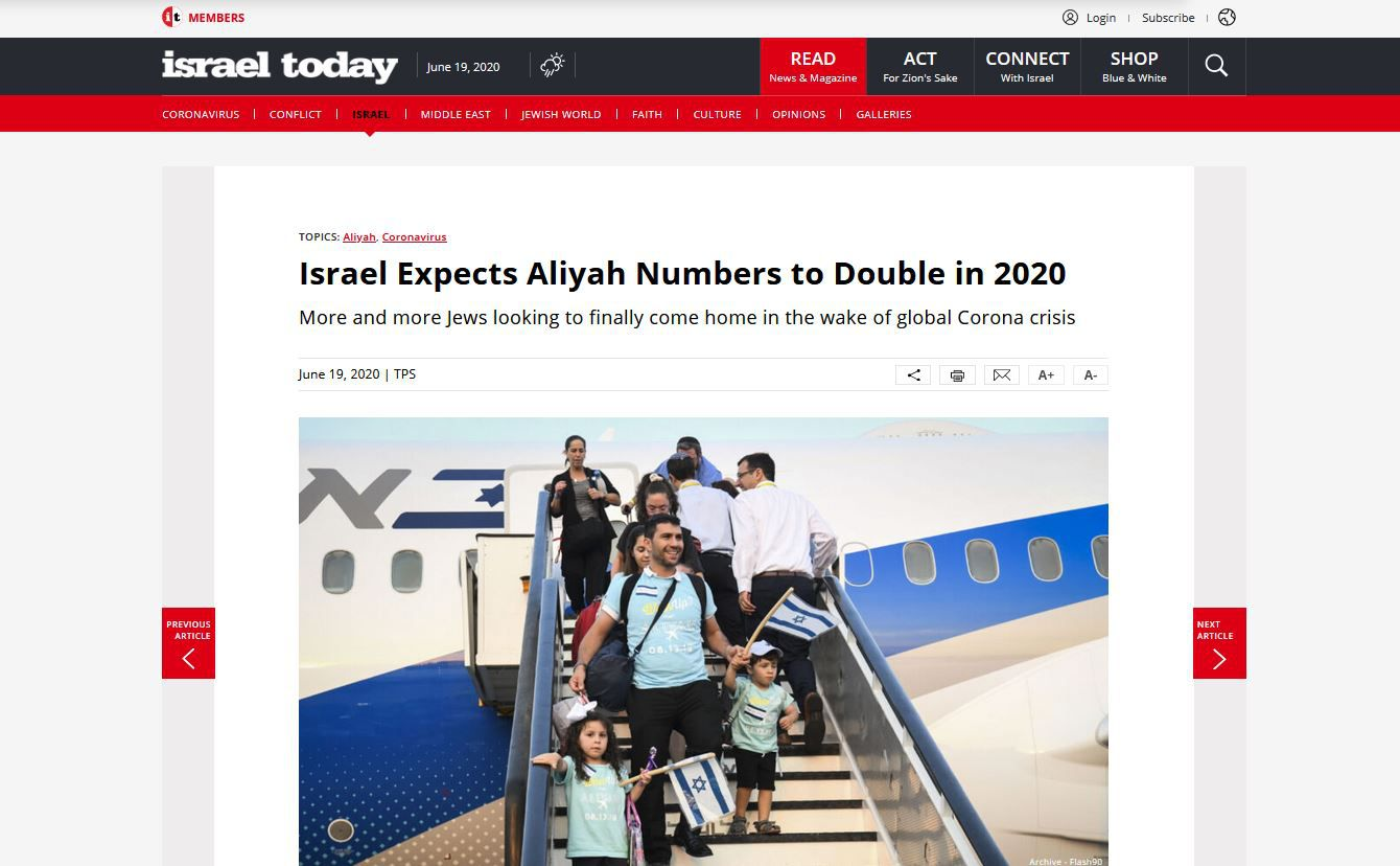 https://www.israeltoday.co.il/read/israel-expects-aliyah-numbers-to-double-in-2020/