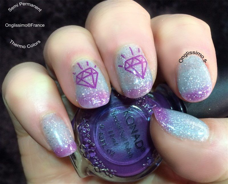 French manucure couleur, accent nail, stamping nail art Konad, vernis thermique, poudre miroir.