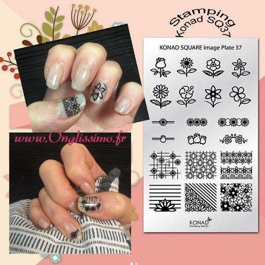 Stamping nail art Konad SQ37