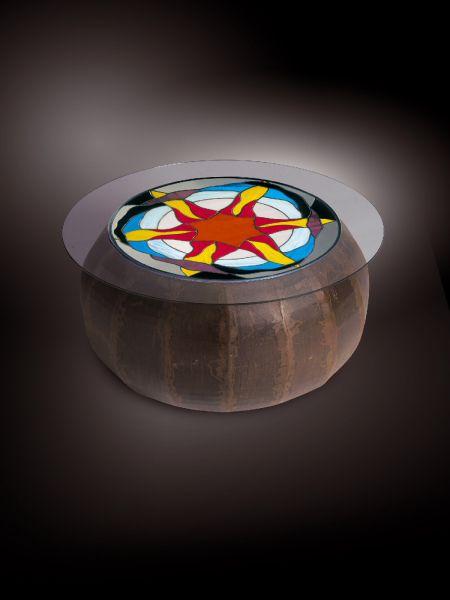Table basse et plateau Tiffany, thème de l'univers et des éléments.