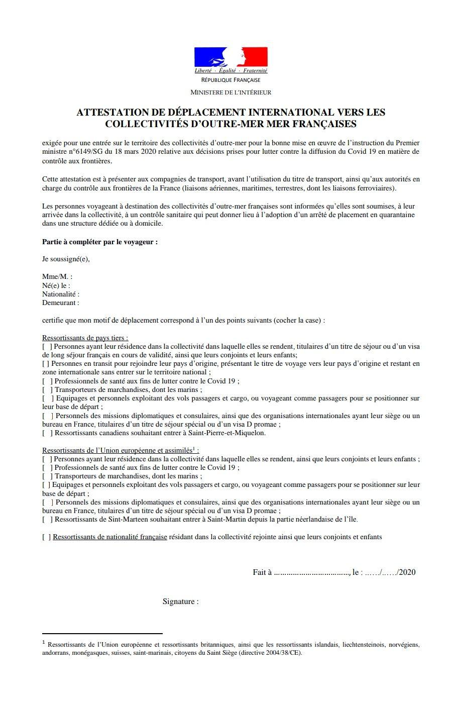 Attestations à télécharger pour les français