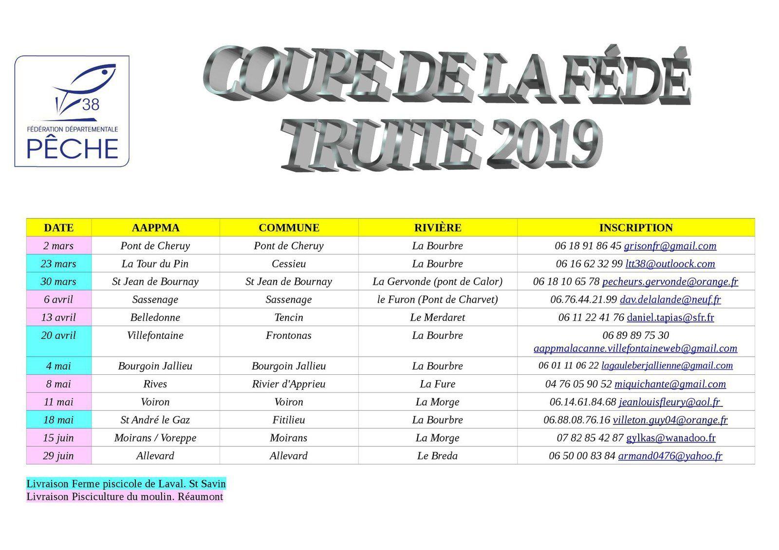 CONCOURS COUPE DE LA FÉDÉ TRUITE 2019 . . .