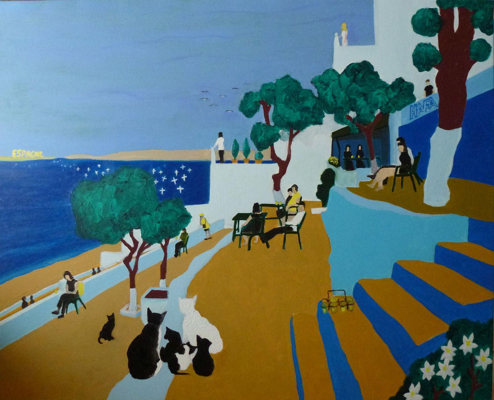 Mes  peintures de Tanger (3 toiles 81 x 100 cm)