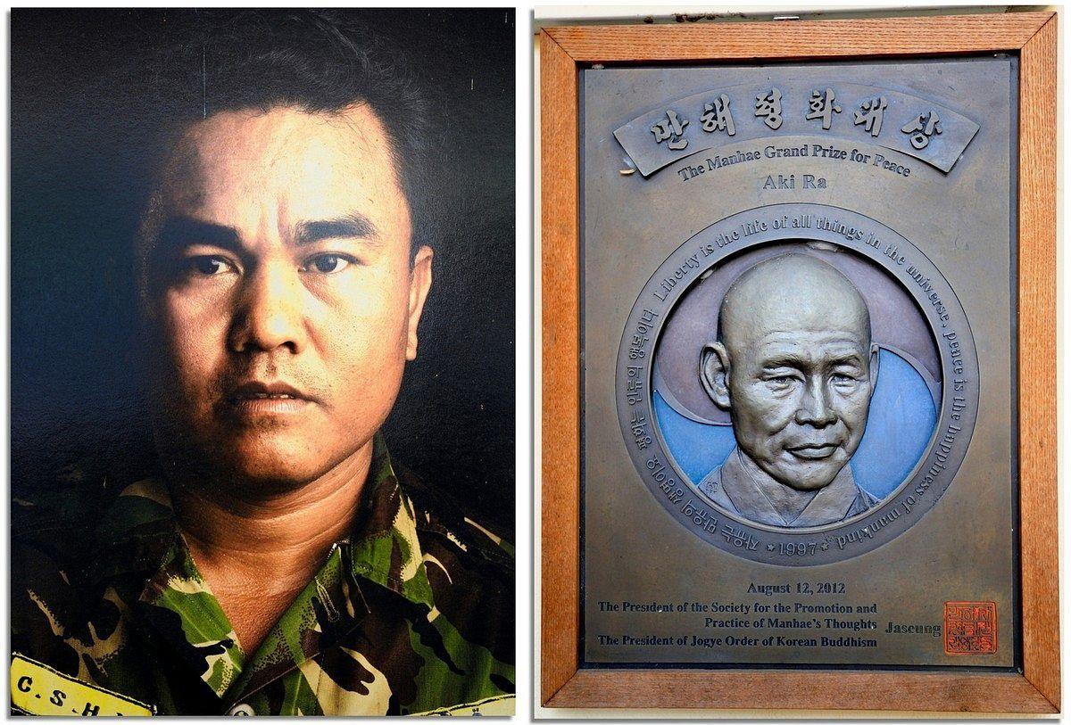 Portraits du légendaire AKI RA, enfant Soldat enrôlé de force par Khmers Rouges, qui a consacré sa vie à déminer le pays des mines qu'il avait lui même posées enfant.