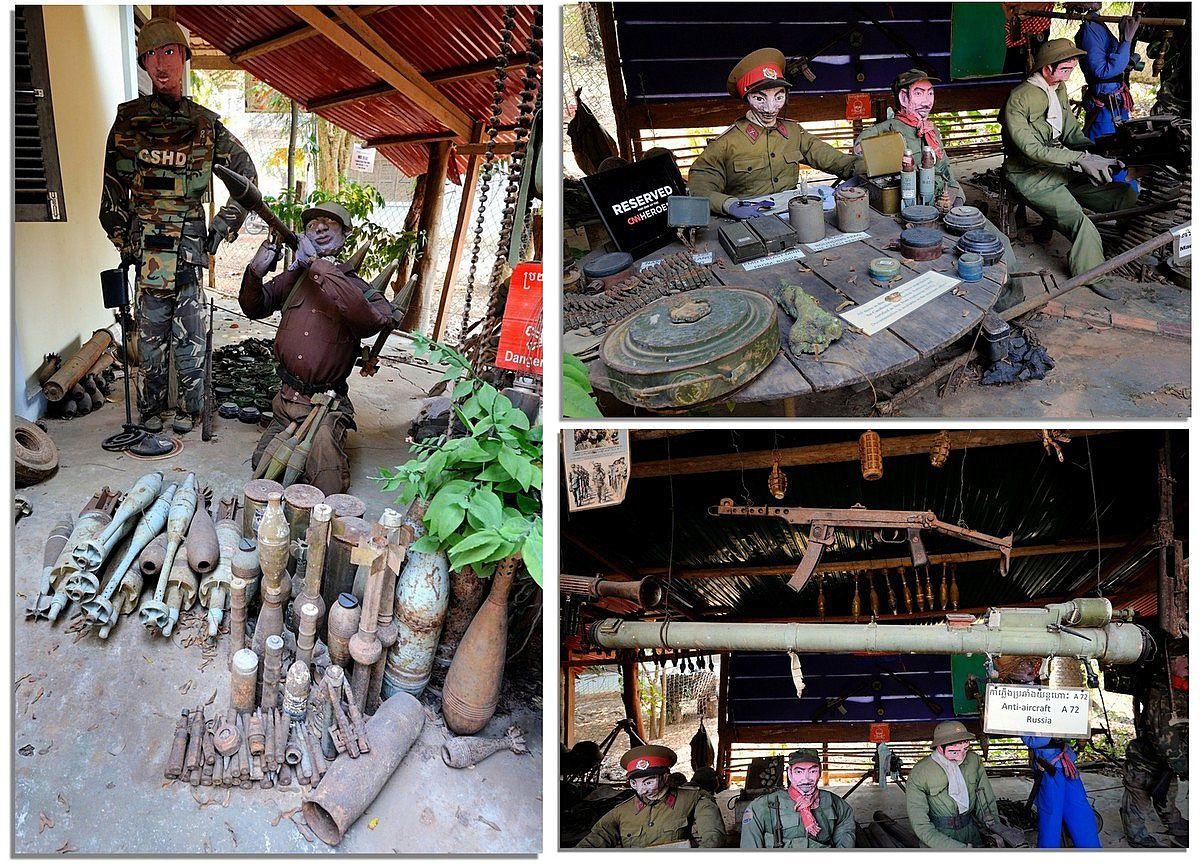 Figurines de soldats Khmers Rouges dans le musée des mines d'AKI RA.