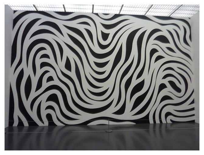 LeWitt Collection : Wall Drawing #879 Loopy Doopy (Black and white) peinture acrylique