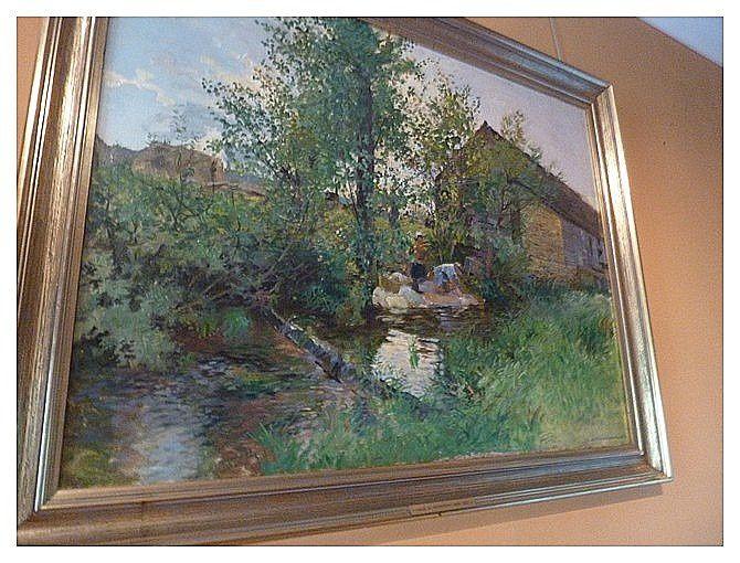 """""""les laveuses à Diénay"""" 1896 Charles de Meixmoron de Dombasle (1839-1912) huile sur toile"""